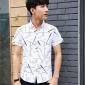 2016男式夏季短袖�r衫男士��l印花�n版修身免�C�棉�r衣�S家直�N